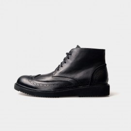 Herilios Leather Oxford Ankle Black Boots With Embroidery Decorations (H3305G06)