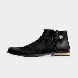 Herilios Leather Side Button Ankle Black Boots (H3305G12)