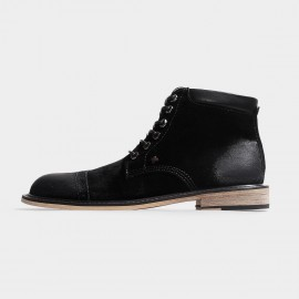 Herilios Gradient Suede Ankle Black Boots With Comfortable Openings (H3305G35)