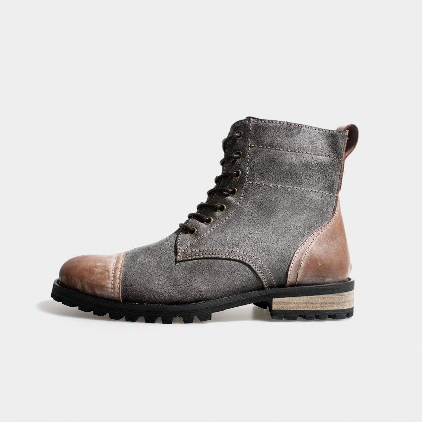 herilios suede lace up ankle grey boots with brown leather