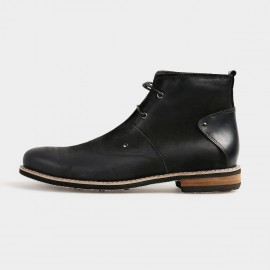 Herilios Ankle Length Desert Grey Boots With Leather Heels (H4205G09)
