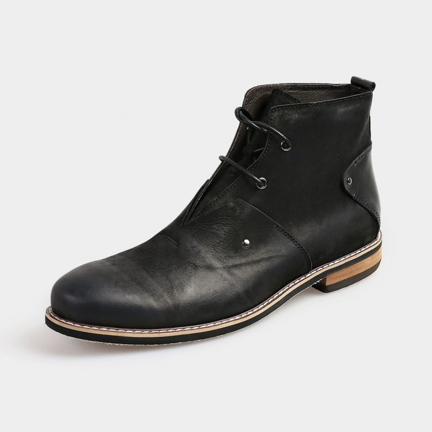 herilios ankle length desert grey boots with leather heels
