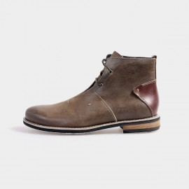 Herilios Ankle Length Desert Brown Boots With Leather Heels (H4205G09)