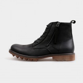 Herilios Ankle Length Zip Black Boots With Rubber Soles (H4205G17)