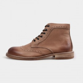Herilios Gradient Oxford Ankle Apricot Boots With Hollow Patterns (H4205G18)