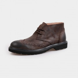 Herilios Classy Leather Desert Brown Boots With Hollow Patterns (H4205G22)