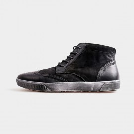 Herilios Grunge Ankle Black Sneakers With Ash Soles (H4205G24)