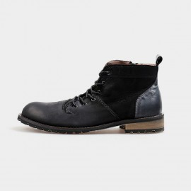 Herilios Suede And Leather Ankle Length Zip Black Boots (H4205G30)
