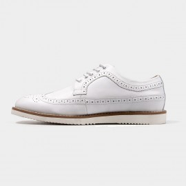 Herilios Leather White Lace Up With Contrasting Soles (H4305D25)