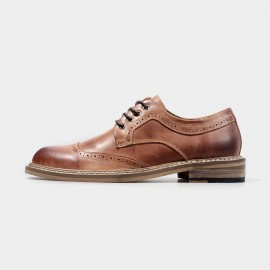 Herilios Glossy Leather Brown Lace Up With Stitched Soles (H4305D28)