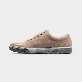 Herilios Suede And Leather Casual Apricot Sneakers With Ash Soles (H4305D29)