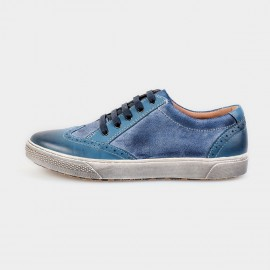 Herilios Weekend Suede And Leather Blue Sneakers With Ash Soles (H4305D45)