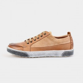Herilios Relaxed Suede Apricot Sneakers With Tanning On Toes (H4305D46)
