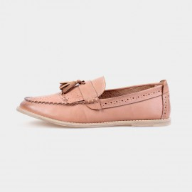 Herilios Pointed Toe Leather Tassel Apricot Loafers (H4305D49)