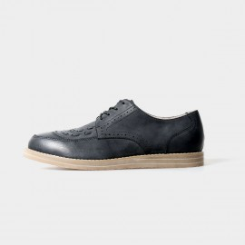 Herilios Black Lace Up With Leather Stitches Details (H5105D04)