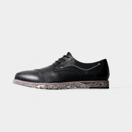 Herilios Chaos Chic Leather Black Lace Up With Patterned Soles (H5105D07)