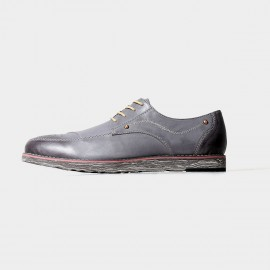 Herilios Chaos Chic Leather Grey Lace Up With Patterned Soles (H5105D07)