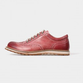 Herilios Street Chic Leather Red Lace-Up With Contrasting Stitches And Hollow Details (H5105D14)