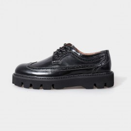 Herilios Make Me Loud Oxford Leather Black Lace Up With Hollow Details And Elevated Soles (H5105D30)