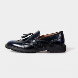 Herilios Glamourous Apron Leather Navy Loafers (H5105D31)