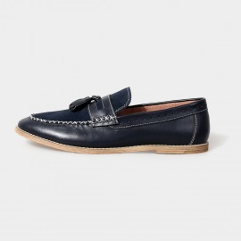 Herilios Groovy Penny Leather Navy Loafers With Cross Stitches (H5105D34)