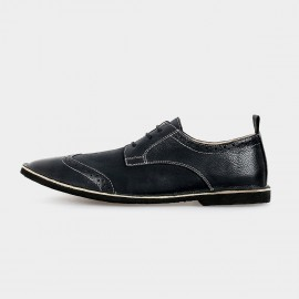 Herilios Suede Low Ankle Black Lace-Up With Hollow Patterns And Contrasting Stitches (H5105D37)