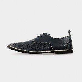 Herilios Breathing Leather Black Lace-Up With Dotted Patterns (H5105D38)