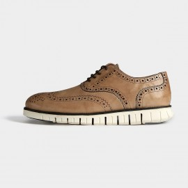 Herilios Patterned Oxford Leather Apricot Casual Shoes With Cleated Soles (H5305D41)