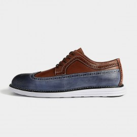 Herilios Vintage Mixing Leather Blue Casual Shoes With Patterns Details (H5305D44)