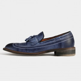 Herilios Leather Tassel Blue Loafers With Vintage Treatment (H5305D48)