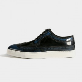 Herilios Mysterious Shortwing Oxford Leather Blue Casual Shoes (H5305D58)
