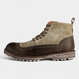 Herilios Army Style Leather Ankle Khaki Green Boots (H5305G34)