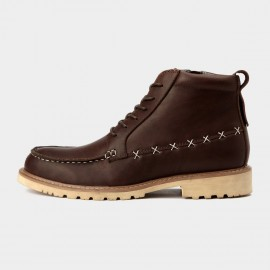 Herilios Leather Ankle Brown Boots With Cross Stitches Details (H5305G35)