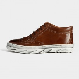 Herilios Vintage Leather Ankle Brown Sneakers With Ash Soles (H5305G36)