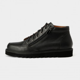 Herilios Classic Texutre Leather Zip Black Boots With Linings In The Opening (H5305G37)