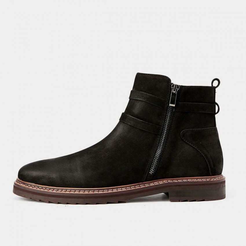 herilios comfy touch leather ankle black boots h5305g44