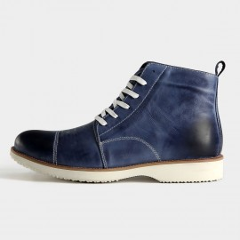 Herilios Casual Tanned Leather Ankle Blue Boots (H5305G49)