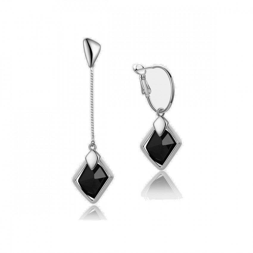 Caromay Dawn Uneven Long Silver Earrings (E0175-1)