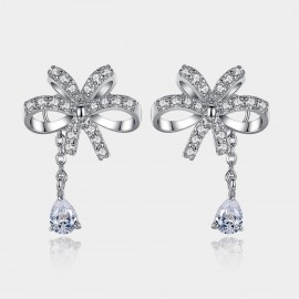 Caromay Shine Ribbon Uneven Silver Earrings (E0777)