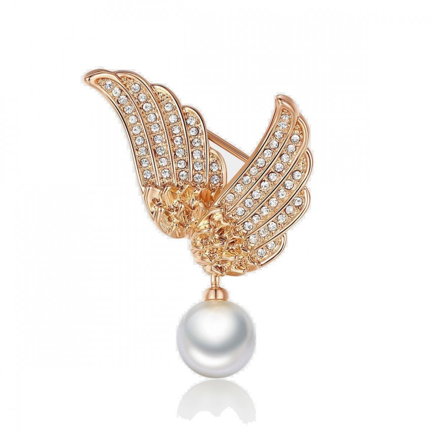 Caromay Fly Wing To Wing Rose Gold Brooch (T0107)