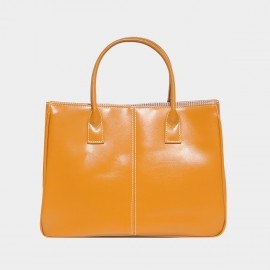 Chancebanda Shiny Textured Orange Top Handle Bag (002)