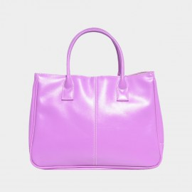 Chancebanda Shiny Textured Purple Top Handle Bag (002)