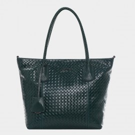Cannci Basket Weave Pattern Leather Green Tote Bag (A11427)