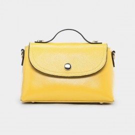 Cannci Magnetic Clasp Leather Yellow Satchel (B11442)