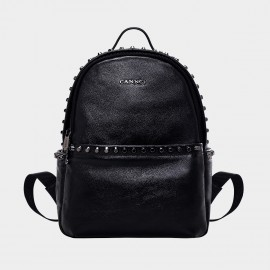 Cannci Studded Accent Leather Black Backpack (B11452)