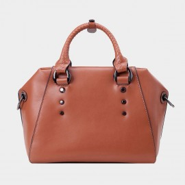 Chancebanda Metal Ring Leather Brown Top Handle Bag (B21030 Large)