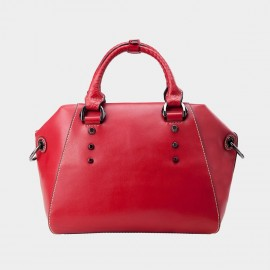 Chancebanda Metal Ring Leather Red Top Handle Bag (B21030 Large)