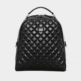 Cannci Diamond Quilted Leather Black Backpack (B21114)