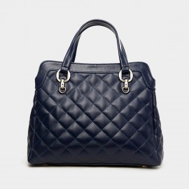 Cannci Diamond Quilted Leather Navy Top Handle Bag (B21121)