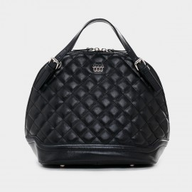 Cannci Gibbous Shape Leather Black Top Handle Bag (B21374)
